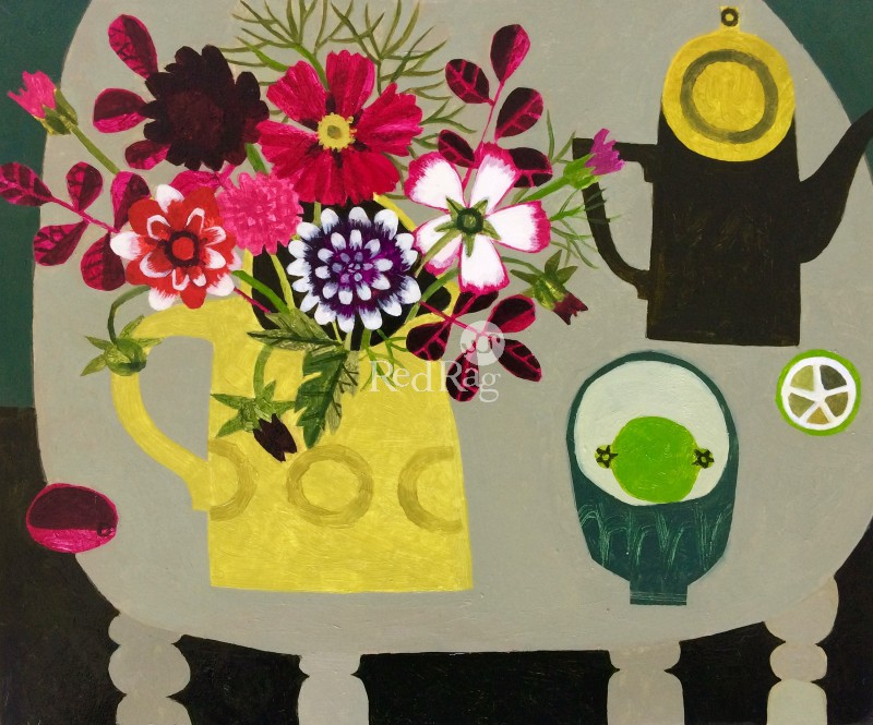 Vanessa BOWMAN - Dahlias, Yellow Jug and Lime
