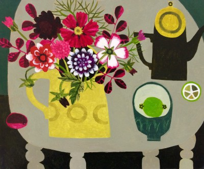 British Artist Vanessa BOWMAN - Dahlias, Yellow Jug and Lime