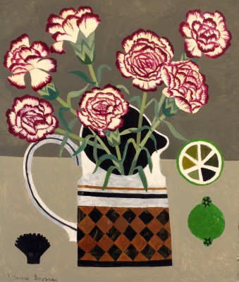 British Artist Vanessa BOWMAN - Carnation, Limes and Black Shell