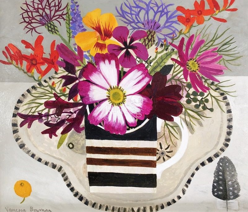 Vanessa BOWMAN - Summer Flowers in Striped Cup