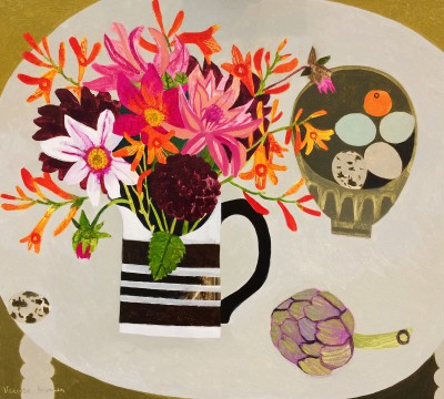 British Artist Vanessa BOWMAN - Dahlias and Crocosmia