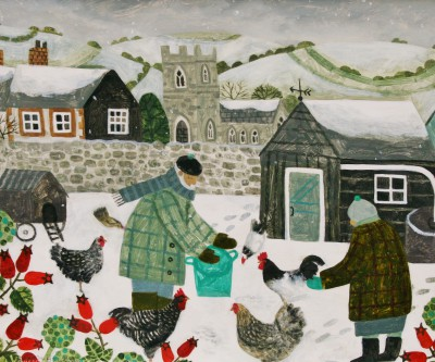 British Artist Vanessa BOWMAN - Hens in the Snow