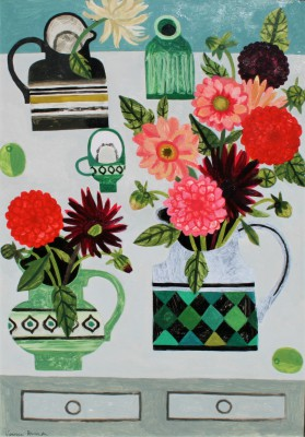 Dahlias on the Table painting by artist Vanessa BOWMAN