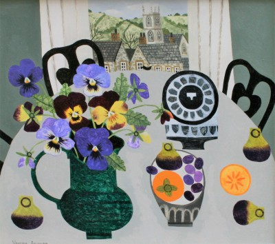Vanessa BOWMAN - Pansies on Grey Table