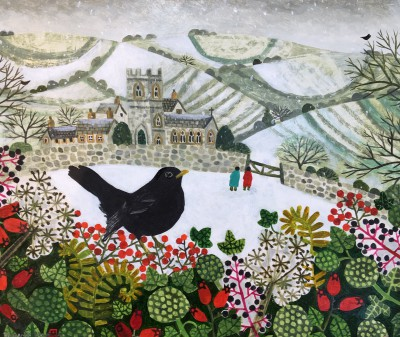 Vanessa BOWMAN - Blackbird and Snowy Village