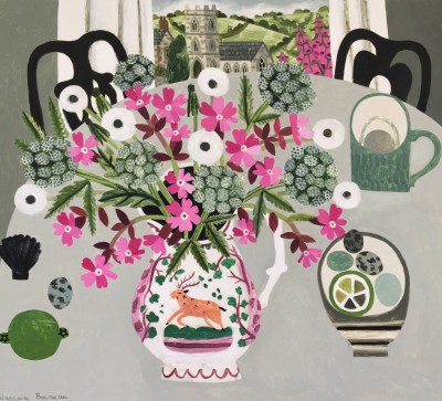 Hedgerow Flowers in Lustreware Jug painting by artist Vanessa BOWMAN