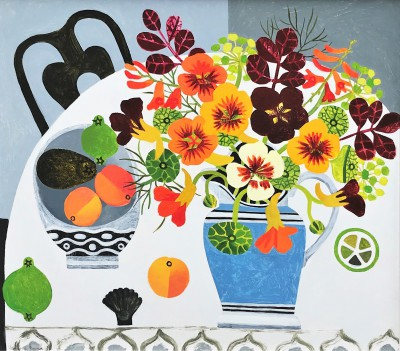 Nasturtiums and Peaches  painting by artist Vanessa BOWMAN