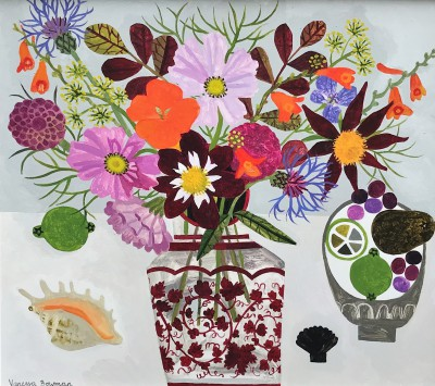 British Artist Vanessa BOWMAN - Late Summer Flowers and Shell