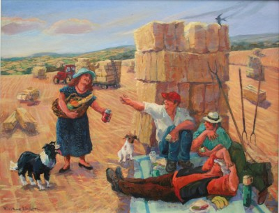 British Artist Vivienne LUXTON - Lunch Break for the Hay Makers