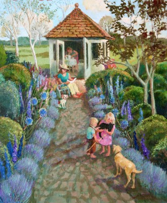 British Artist Vivienne LUXTON - With Pets in the Blue Garden