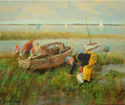 Gathering Samphire painting by artist Vivienne LUXTON