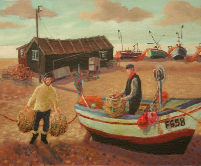 British Artist Vivienne LUXTON - Bringing in the Lobster Pots