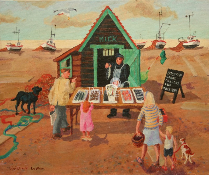 Vivienne LUXTON - Buying Fish, Aldeburgh Beach