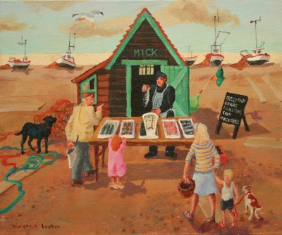 British Artist Vivienne LUXTON - Buying Fish, Aldeburgh Beach