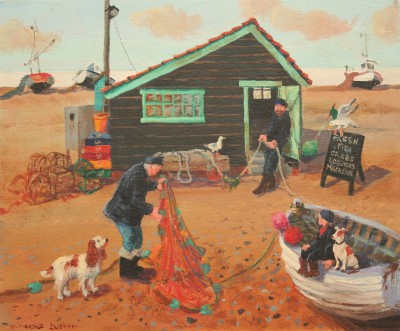 Fishermen Chat                      painting by artist Vivienne LUXTON