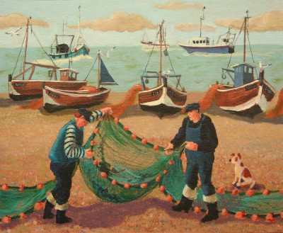 British Artist Vivienne LUXTON - Cleaning the Nets