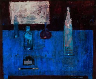British Artist William SELBY - Bottles on Blue