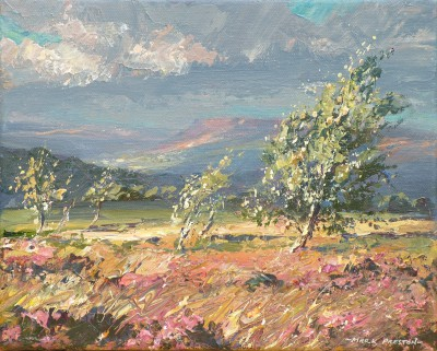 British Artist Mark PRESTON - Windswept Silver Birches, Froggatt Edge