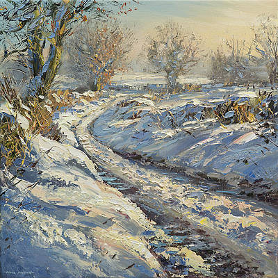 British Artist Mark Preston - Winters Afternoon, Brailsford