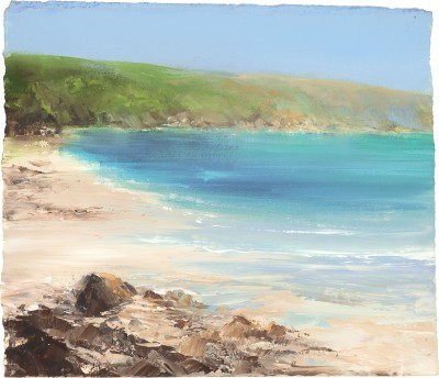 Rock Pooling at Polridmouth Cove, near Fowey painting by artist Amanda HOSKIN