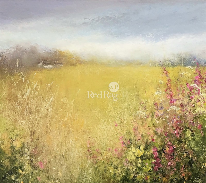 Amanda HOSKIN - A Summer Field, Foxgloves and Wildflowers, Cornwall