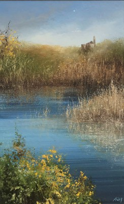 Reflections, Retallack Ponds, Cornwall painting by artist Amanda HOSKIN