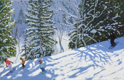 British Artist Andrew MACARA  - Skiers, Courchevel to La Tania, France