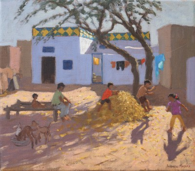 British Artist Andrew MACARA  - Playing in the Hay, India