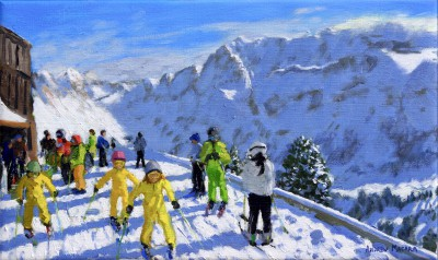 British Artist Andrew MACARA  - Young Skiers, Val Gardena, Italy