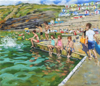 The Splash, Bude Sea Pool painting by artist Andrew MACARA