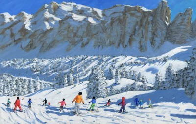 British Artist Andrew MACARA  - Colourful Skiers, Val Gardena, Italy
