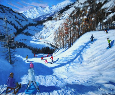 Andrew MACARA  - Shadow of a Fir Tree and Skiers, Tignes