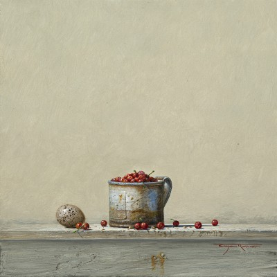 British Artist Bryan HANLON - Redcurrants and Coot