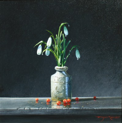British Artist Bryan HANLON - Snowdrops and Redcurrants