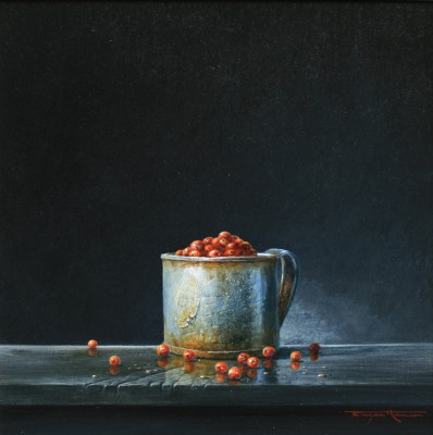 British Artist Bryan HANLON - Tin Mug and Redcurrants