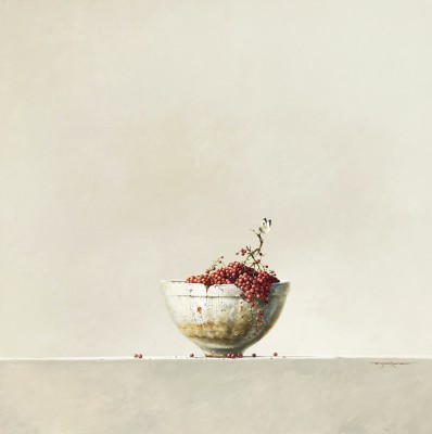 British Artist Bryan HANLON - Jelly Mould, Redcurrants and Large White