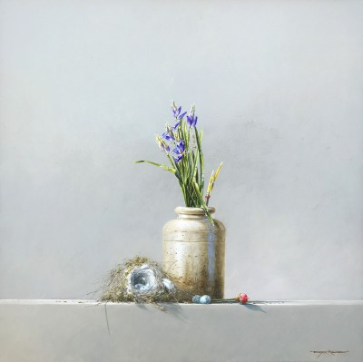 British Artist Bryan HANLON - Bluebells and Goldfinch