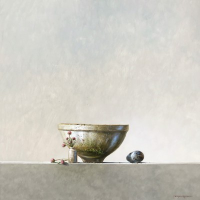 British Artist Bryan HANLON - Bowl and Bird's Egg