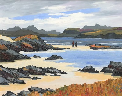 Walkers on the Beach, Wester Ross painting by artist David BARNES