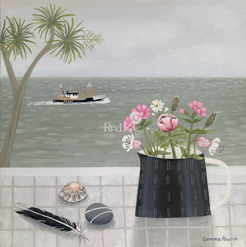 Gemma PEARCE - Newlyn Trawler and Pink Wild Flowers