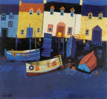Limited Edition Prints Artist George Birrell - Boats and Tarry Wall