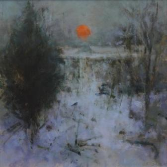 British Artist Judith GARDNER  RBA - Winter Snow, Sun Setting