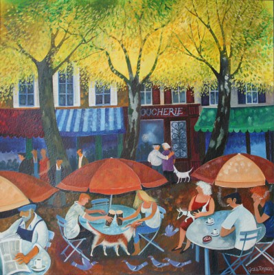 Cafe Culture painting by artist Lisa GRAA JENSEN