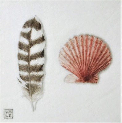British Artist Louise YOUNG - Feather and Shell (Red)