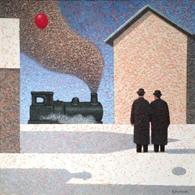 British Artist Mark EDWARDS - Waiting For The Train to Pass