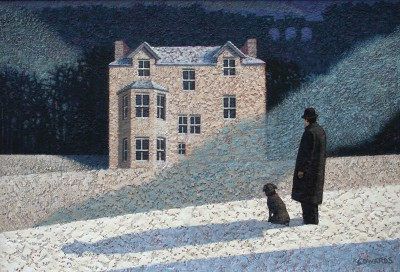 British Artist Mark EDWARDS - Watching Three Trains Pass