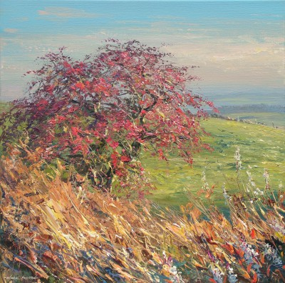 Autumn Hawthorn, Alport Height painting by artist Mark PRESTON