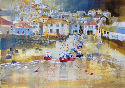 British Artist Nagib KARSAN - Fishing Boats, Port Isaac