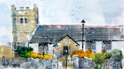British Artist Nagib KARSAN - Towednack Church, Nr St Ives