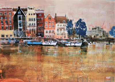 British Artist Nagib KARSAN - Houses and Boats, Amsterdam